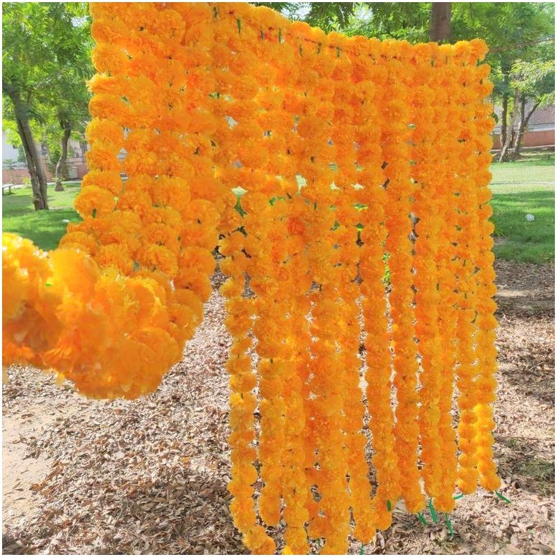 20 Pc Set Artificial Marigold Flower Orange Garlands  Indian Wedding Decoration